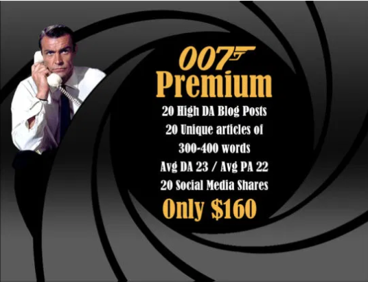 JAMES BOND PREMIUM BLOG PACKAGE - 20 Posts
